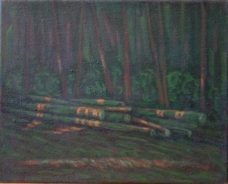 Zelené klády, 45x50cm