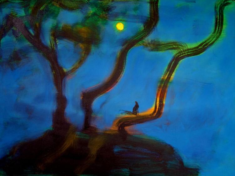 Veverka v noci, 90x120cm